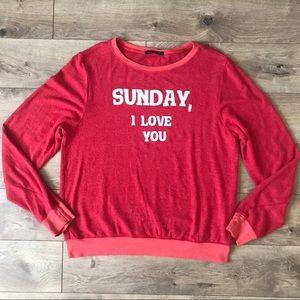 NWOT WILDFOX Sunday I Love You Sweatshirt